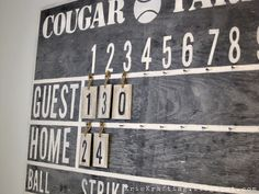 Boys Room - DIY how to make scoreboard like Pottery Barn.