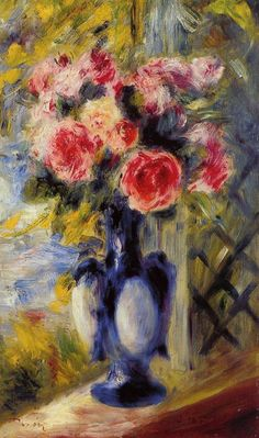 Roses in a Blue Vase, by Pierre Auguste Renoir (1841~1919)