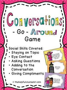 Social Skills: Conversation Game. Repinned by SOS Inc. Resources pinterest.com/sostherapy/.