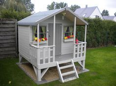 Summertime Project – Build a Playhouse for Your Kids Outside Playhouse, Garden Playhouse, Build A Playhouse, Playhouse Outdoor, Backyard Playground, Backyard For Kids, Backyard Projects, Backyard Patio, Backyard Landscaping
