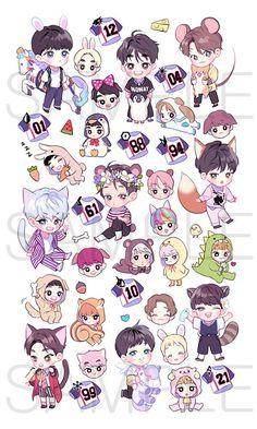 EXO is just a bunch of smol little beans :) Chibi Exo, Naruto Chibi, Chibi Manga, V Chibi, Cute Chibi, Exo Stickers, Cute Stickers, Kpop Exo, Chibi Tutorial