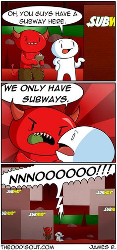 It's funny Because James used to work for Sooubway Theodd1sout Comics, Online Comics, Cute Comics, Funny Comics, Stupid Funny, Funny Cute, Really Funny, Hilarious, Funny Stuff