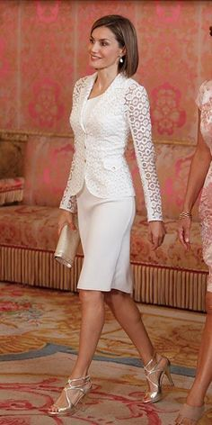 Queen Letizia of Spain Photos Photos: Spanish Royals Host a Lunch For President of Romania Queen Letizia of Spain (L) receives Romanian President wife's Carmen Iohannis (R) at the Royal Palace on July 2015 in Madrid, Spain. I Dress, Peplum Dress, Lace Dress, White Dress, White Lace, Royal Fashion, White Fashion, Work Fashion, Fashion Photo