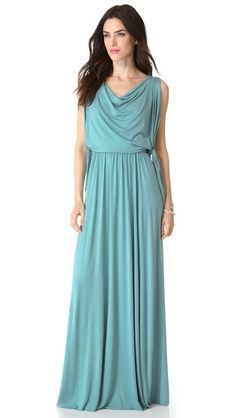 Rachel Pally Birdie Maxi Dress  A fabric overlay with raw edges lends a glamorous touch to a Rachel Pally maxi dress, while a covered elastic band defines the waist. A cowl neckline and raw hem finish the look. Unlined.  Fabric: Jersey.