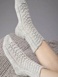 Lovely socks by Novita. Lace Socks, Knitted Slippers, Wool Socks, Crochet Slippers, Knit Crochet, Knitting Charts, Knitting Socks, Free Knitting, Baby Knitting