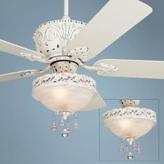 The Casa Deville™ Pretty in Pink light kit ceiling fan has a beautiful, antique style design. Hand-rubbed antique white motor finish with five white finish blades. Style # at Lamps Plus. Girls Ceiling Fan, 52 Ceiling Fan, White Ceiling Fan, Home Ceiling, Shabby Chic Lighting, Cottage Lighting, Traditional Ceiling Fans, Classic Ceiling, French Country Decorating