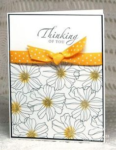 handmade card from Stamping with Klass ... sentiment at top can be changed .... knotted ribbon ... stamped flower outline fills the bottom 2/3 rds .... like how the flower centers are lightly sponged in the same color as the ribbon ... like it! ... Stampin' Up!