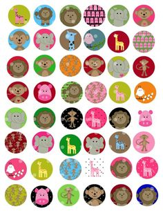 NEW Zoo animals 1 inch Circle Digital Collage by cupcakecutiees - for bottlecap hairbows