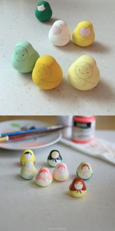 I am making a few matryoshka dolls and they are for sale this time. My husband calls them 7 sisters! They are made of polymer clay and I paint them with acrylic colors. Each needs at least 4 coats of paint. The hardest part is waiting for the paint to dry Cute Polymer Clay, Cute Clay, Polymer Clay Dolls, Polymer Clay Miniatures, Polymer Clay Projects, Polymer Clay Charms, Clay Crafts, Matryoshka Doll, Kokeshi Dolls