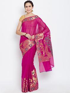 Buy Bunkar Magenta Patterned Banarasi Saree -  - Apparel for Women from Bunkar at Rs. 1200