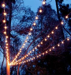 Canopy of String Lights in our Backyard Inspired by the backyard on the show Parenthood we created a canopy of string lights over our back patio.Inspired by the backyard on the show Parenthood we created a canopy of string lights over our back patio. Backyard String Lights, Backyard Lighting, Outdoor Lighting, String Lighting, How To Hang Patio Lights, Outdoor Hanging Lights, Outdoor Globe String Lights, Patio Lighting Ideas Diy, String Of Lights