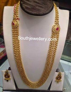gundla mala latest jewelry designs - Page 9 of 17 - Indian Jewellery Designs Jewelry Design Earrings, Gold Earrings Designs, Necklace Designs, Jewellery Designs, Gold Jewellery, Gold Designs, Rajput Jewellery, Indian Jewellery Design, Latest Jewellery