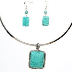 Yazilind Jewelry Vintage Rimous Turquoise Rectangle Pendant Collar Necklace Earrings Set Alloy Ethnic Gift Idea