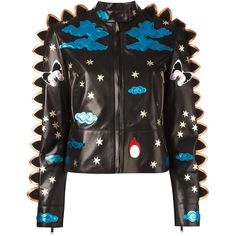 Valentino crazy fantasy leather jacket ($4,000) ❤ liked on Polyvore featuring outerwear, jackets, giacche, outwears, tops, black, snap jacket, embroidered jacket, leather jackets and 100 leather jacket