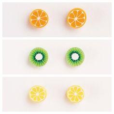 Fruit Earrings Orange, lemon, & kiwi stud earrings. Really cute & perfect for summer. Claire's Jewelry Earrings