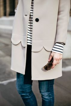 The Fashion Magpie Scalloped coat and stripes Street Style 1 Looks Street Style, Looks Style, Style Me, Trendy Style, Style Outfits, Mode Outfits, Girl Outfits, Fashion Details, Look Fashion
