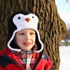 Penguin Hat Crochet Pattern Bomber Style por micahmakes en Etsy