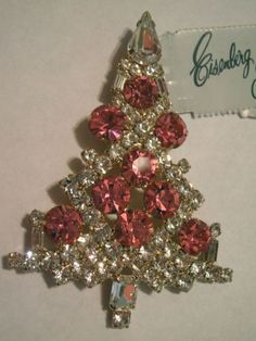 RARE Pink Christmas Tree Pin Brooch Signed Eisenberg Ice | eBay