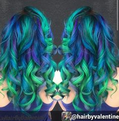blue green ombre dip dyed hair color