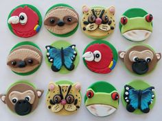 12 fondant cupcake toppersrainforest animals by PastelFiesta