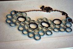 Brown and Sea Green Necklace - Fiber Jewelry - Crochet - Lightweight Cluster Bib