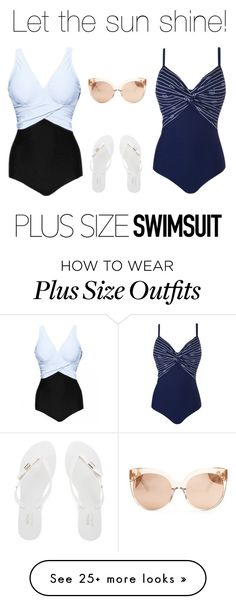 """Plus size- Summer!"" by my-secret on Polyvore featuring Melissa, Linda Farrow, stylishcurves and plussizeswimsuit"