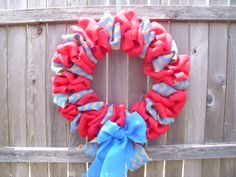 18inch Pink burlap wreath with blue/brown chevron by ModernAandD, $35.00