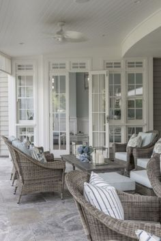Hamptons style home in Queensland by Verandah House Design. (this reminded me of Aunt Em's house on Lake Benedict. Hamptons Style Homes, Hamptons Decor, The Hamptons, Style At Home, Outdoor Rooms, Outdoor Living, Outdoor Furniture, Furniture Ideas, Painted Wicker Furniture
