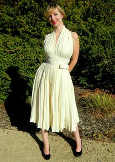 just because i love this - Custom Made Marilyn Monroe Pleated White Halter by DaintyRascal, $550.00