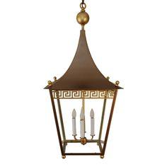 Greek Key Pagoda Top Brass Lantern Custom Chandelier Lighting | Art Deco Decor Custom Lighting
