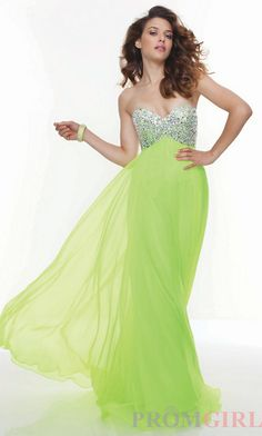 Prom Dresses, Celebrity Dresses, Sexy Evening Gowns at PromGirl: Full Length Strapless Chiffon Dress
