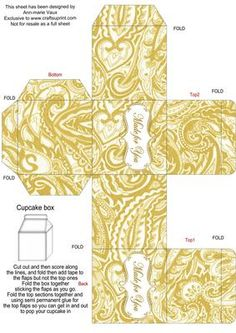 Gold Paisley Single Cupcake Presentation Box on Craftsuprint - Add To Basket!