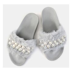 Faux Fur Pearl Slide Sandals GRAY ($22) ❤ liked on Polyvore featuring shoes, sandals, grey, faux fur shoes, grey shoes, gray shoes, gray sandals and open toe shoes