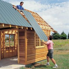 Shed Plans - Order Cut-to-Length Steel Roof Panels - DIY Storage Shed Building Tips: www. Now You Can Build ANY Shed In A Weekend Even If You've Zero Woodworking Experience! Steel Roof Panels, Metal Roof, Metal Bar, Backyard Sheds, Outdoor Sheds, Garden Sheds, Outdoor Gardens, Backyard Landscaping, Diy Storage Shed Plans