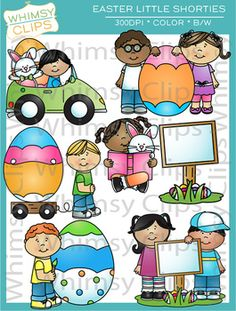 The Little Shorties Easter clip art set contains 14 image files, which includes 7 color images and 7 black & white images in png and jpg. All images are 300dpi for better scaling and printing.
