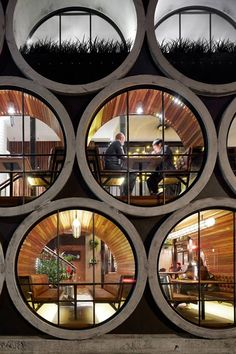 Prahan Hotel, Melbourne. Series of 17 concrete water pipes - a hotel for urban hobbit