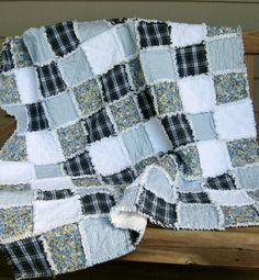 Patchwork Rag Quilt in Blues by SeptemberOaks
