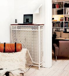 great radiator cover. as blogged today. http://www.sfgirlbybay.com/2013/04/08/decorating-ideas-for-radiators/