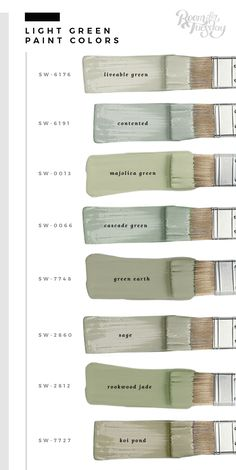 My Favorite Green Paint Colors - Room for Tuesday In honor of St. Patrick's Day this weekend, I'm sharing my favorite green paint colors. Whether you're painting a wall or furniture, save these swatches! Green Paint Colors, Interior Paint Colors, Paint Colors For Home, Wall Colors, House Colors, How To Paint Room, Paint Colors For Bathrooms, Green Gray Paint, Paint Colours For Bedrooms