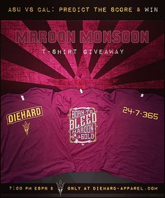 It's back - Predict the score here on IG (or at DieHardDevil on FB) & Win DieHard-Apparel! *NOTE: The same score can not be repeated. For example, the first 21-0 prediction will be the only 21-0 prediction.  A portion of every purchase goes to Sun Devil Athletics. Thank you for your patronage!