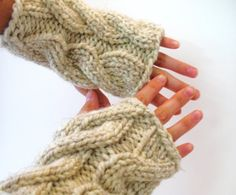 cable knit fingerless gloves: one good thing about the cold