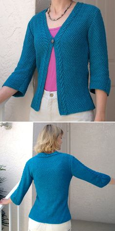 Free Knitting Pattern for Cari Cable Trimmed Cardi - Cable-trim cardigan with three-quarter length sleeves is knit mostly in 4 row repeat moss stitch. Designed by Sarah Hatton. Pictured project by agsewnsew. Ladies Cardigan Knitting Patterns, Knit Cardigan Pattern, Baby Knitting Patterns, Knitting Yarn, Free Knitting, Quick Knits, Short Sleeve Cardigan, Lana, Knit Crochet