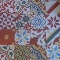 Encaustic Tiles Patchwork (red dominant colour)