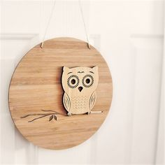 Owl Wall Art Bamboo Home Bedroom Decor Nursery Baby Mother's Day Birthday Mum