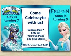 Twin Avengers and Frozen Invitation Personalized Digital Card