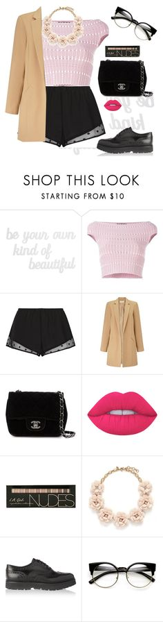 """Untitled #2007"" by lauraafreedom ❤ liked on Polyvore featuring PBteen, Alexander McQueen, Princesse tam.tam, Miss Selfridge, Chanel, Lime Crime, J.Crew and Church's"