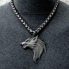 Black Viking Edition Ferocious Snarling Fenrir Werewolf on Thick Viking Braid Antique Steel Chain Wolf Jewelry, Viking Jewelry, Man Jewelry, Wolf Necklace, Men Necklace, Viking Braids, Jewelery, Jewelry Necklaces, Jewelry Design