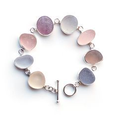 'Winter Morning' sea glass bracelet by Tania Covo - all natural sea glass pieces in shades of pink and grey