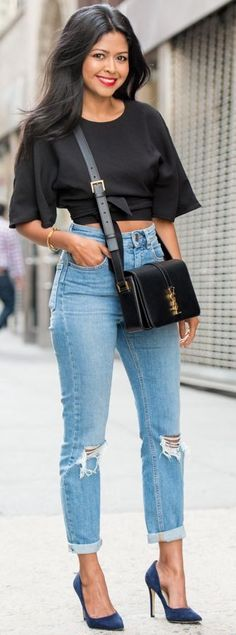 Black Crop Top On High Waisted Jeans Fall Street Style Inspo by Walk In Wanderland #black