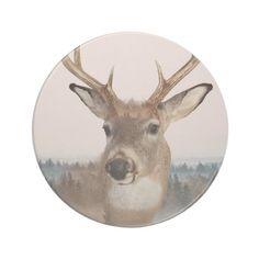 Whitetail Deer Double Exposure Sandstone Coaster
